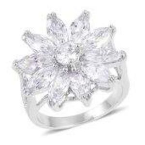 Jewelry - Sim Diamond Silvertone Flower Spilt Ring